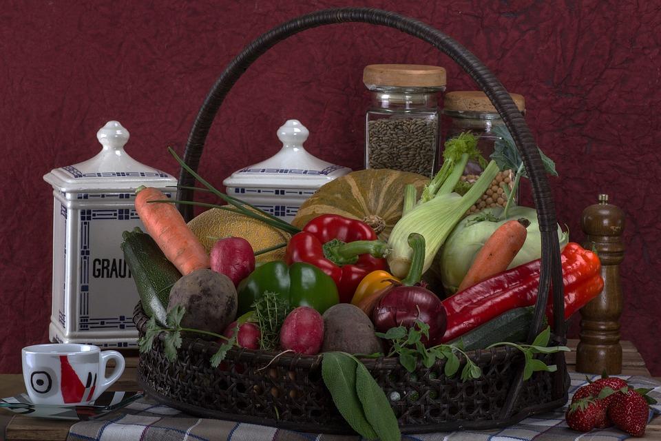 Still Life, Vegetables, Basket, Tomatoes, Paprika