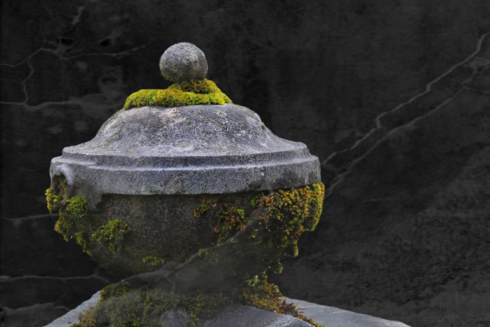 Stone Urn, Grave, Tomb, Cemetery, Stone Vascular