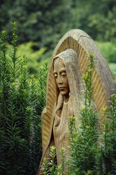 Virgin, Maria, Monument, Statue, Tombstone, Wood, Woods