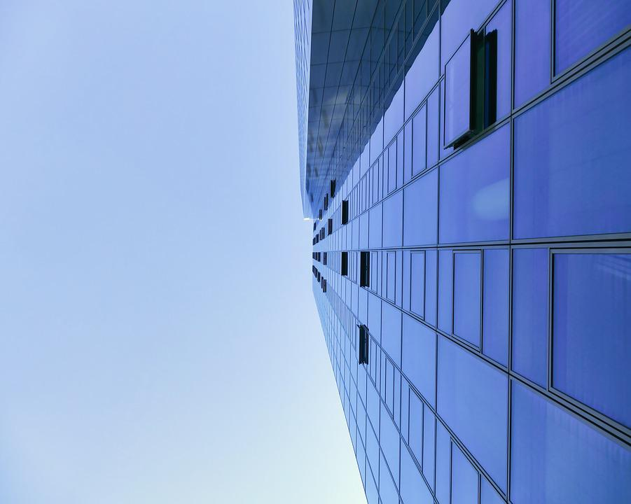 Architecture, View, Top, High, Blue, Sky, Modern