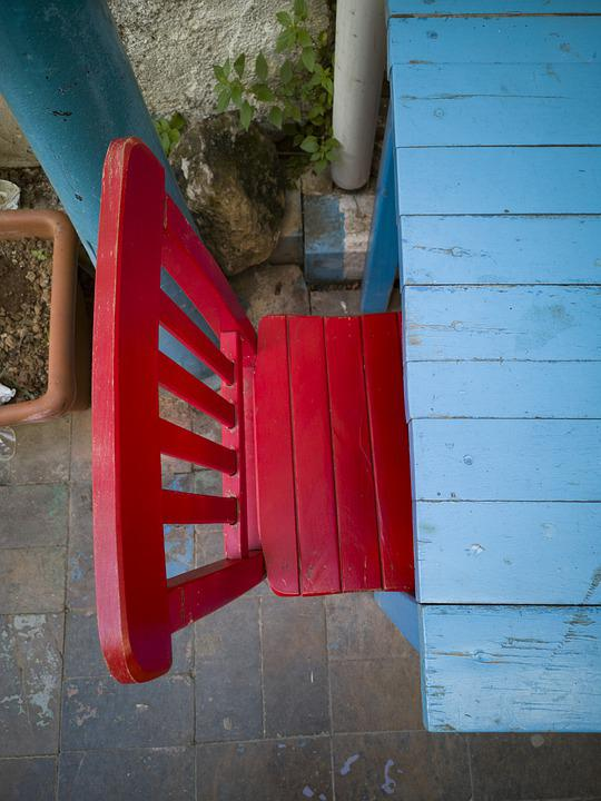 Table, Chair, Blue, Red, Top, Wood, Wood-fibre Boards