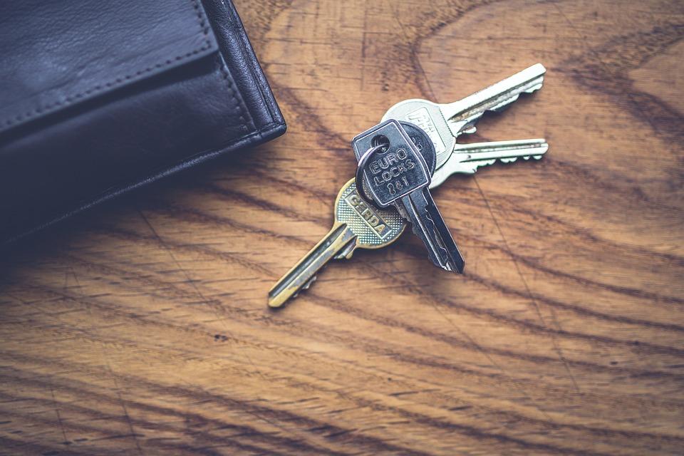Key, Keys, Lock, Wallet, Wood, Top