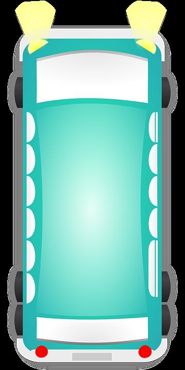 Bus, Car, Van, Top-view, Turquoise