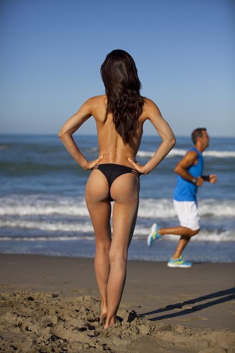 Girl, Naked, Costume, Beach, Sea, Topless, Natural