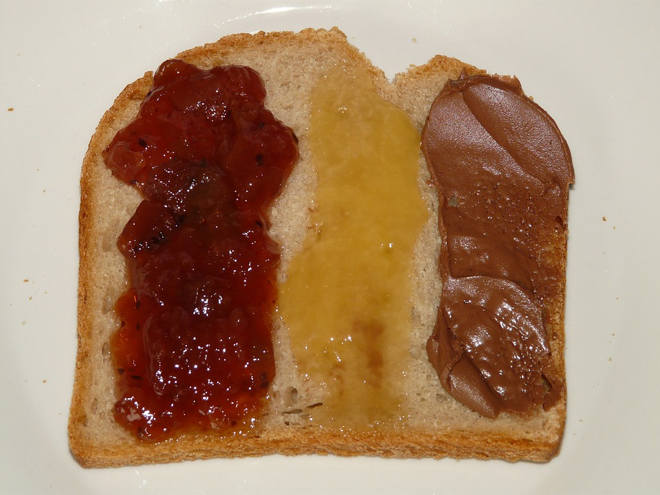 Bread, Breakfast, Topping, Jam, Honey, Nutella, Eat