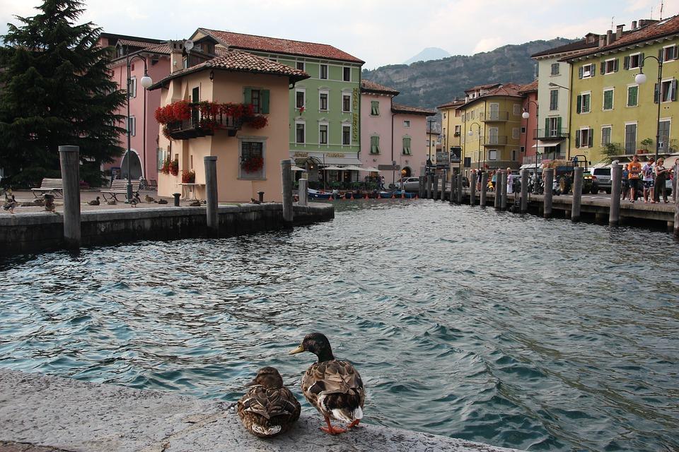 Torbole, Port, Ducks, Garda, Architecture