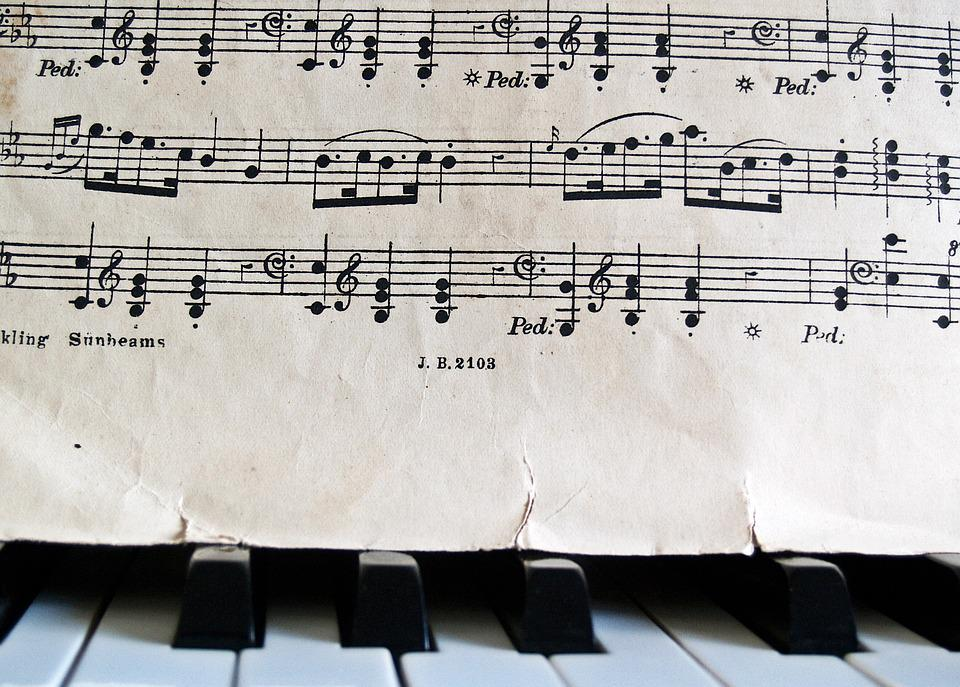 Notes, Piano, Sheet Music, Keys, Old, Antique, Torn