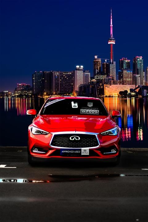 Infiniti Q60, Sports Car, Cityscape, Night, Toronto