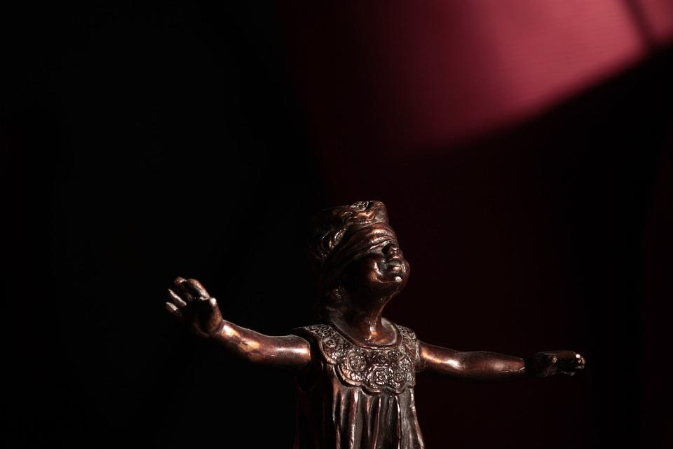 Blind, Blindfolded, Torso, Child, Statue, Figurine