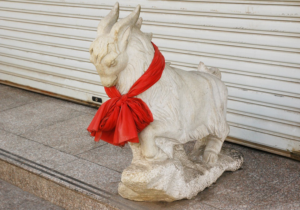 Goat, Sculpture, Collar, Red, Animal, Totem, Totemic