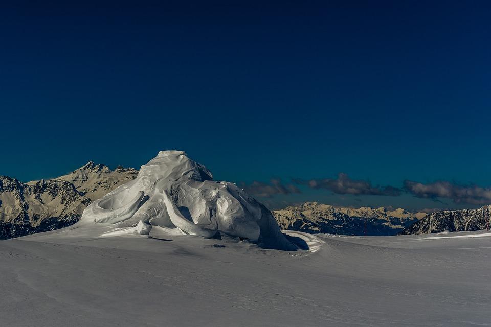 Mountain, Snow, Toupee, Statue