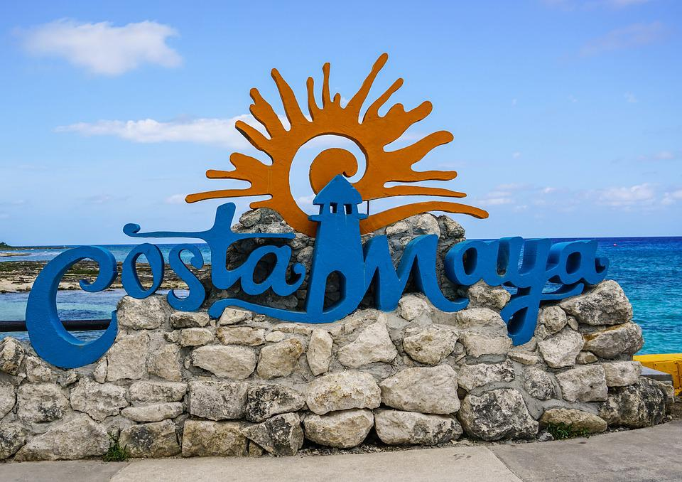 Costa Maya, Sign, Beach, Caribbean, Mexico, Tourism