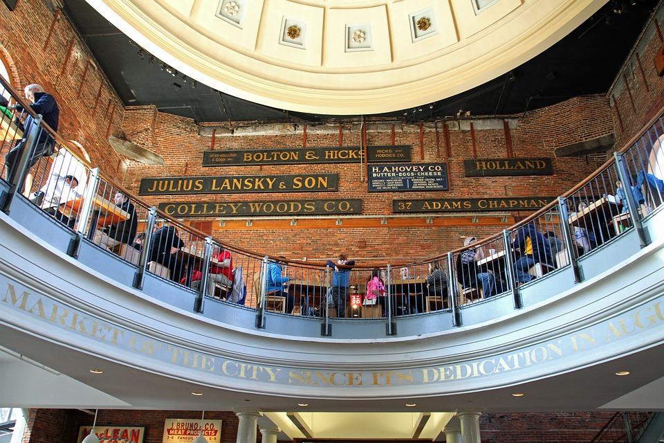 Quincy Market, Boston, Market, Hall, Tourism