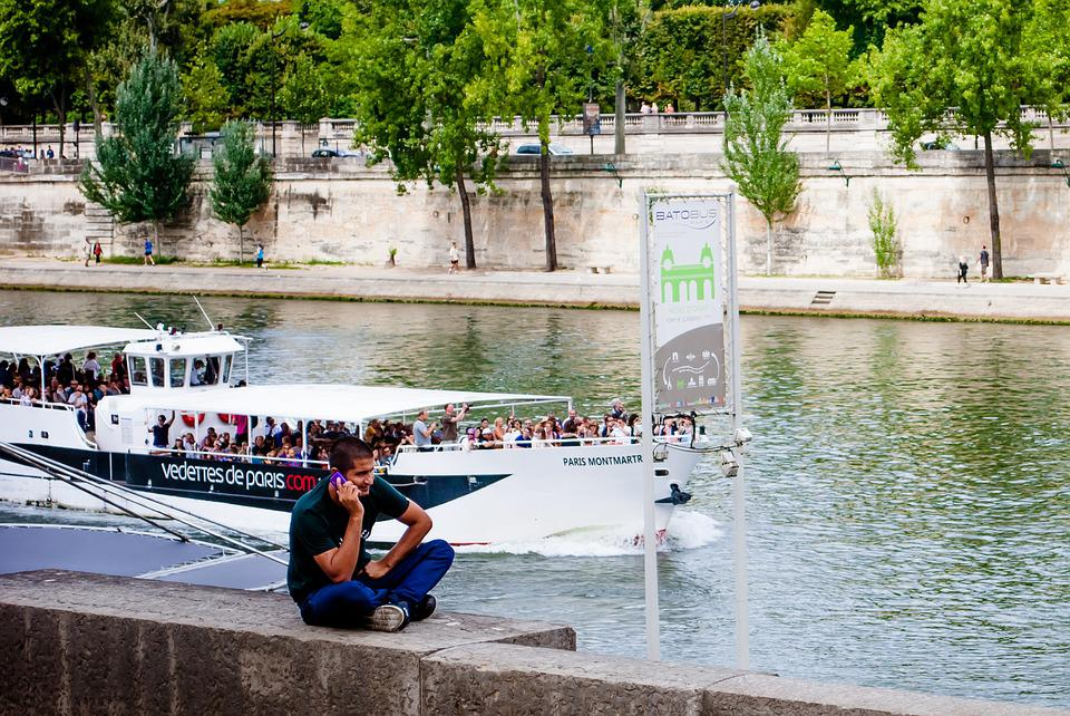 Paris, Tourism, Seine River, Man, Cell Phone