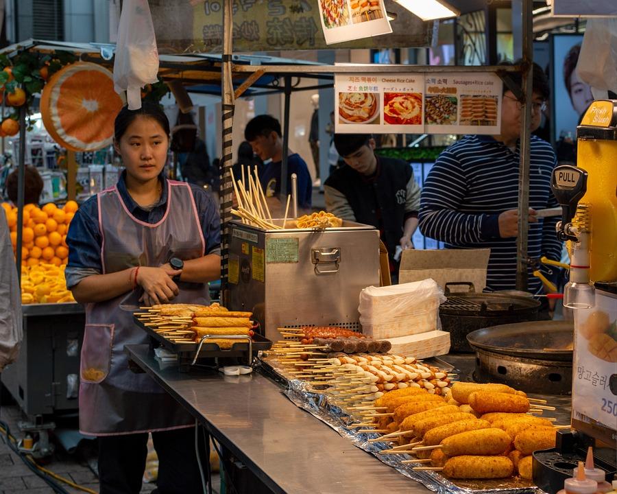 Myeongdong, Street Food, Seoul, Tourist, Tourism, Korea
