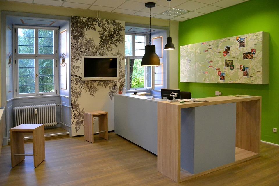 Reception, Green, Wood, Grey, Tourist Info