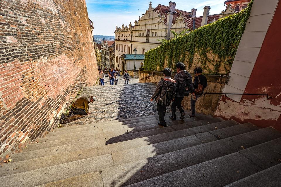 Prague, Beggar, Stairs, Steps, Stairway, Tourist, City