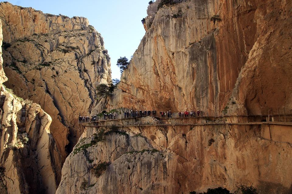 Tourists, Attraction, Height, Malaga, Caminito Del Rey