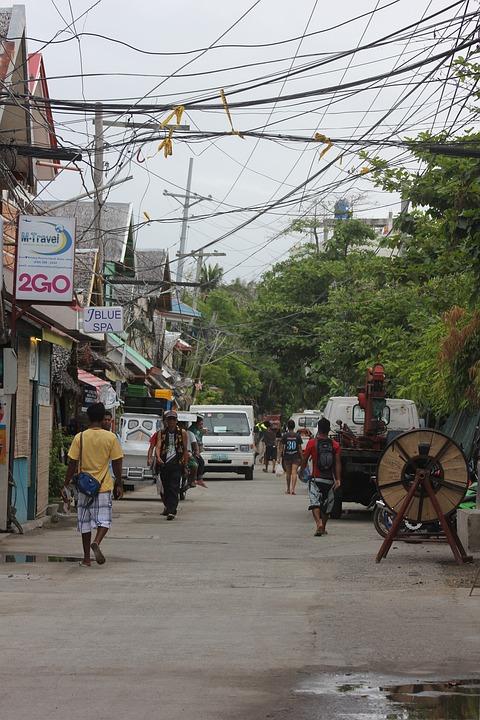 Boracay Island, Boracay, Street, Tourists, Cables
