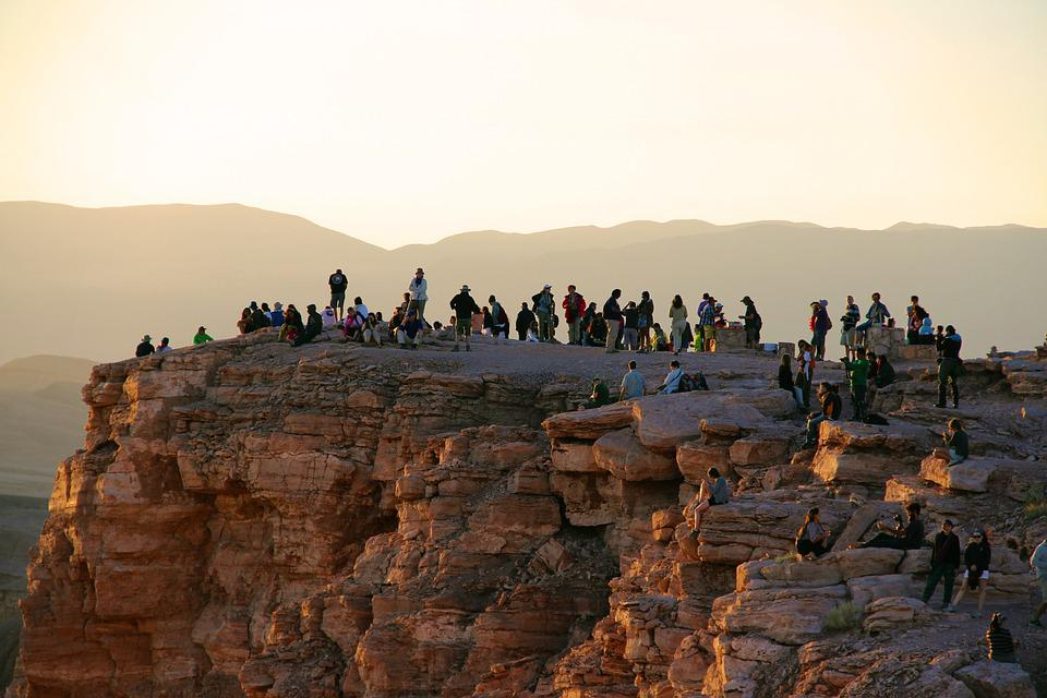 People, Sunset, Horizon, Setting Sun, Tourists