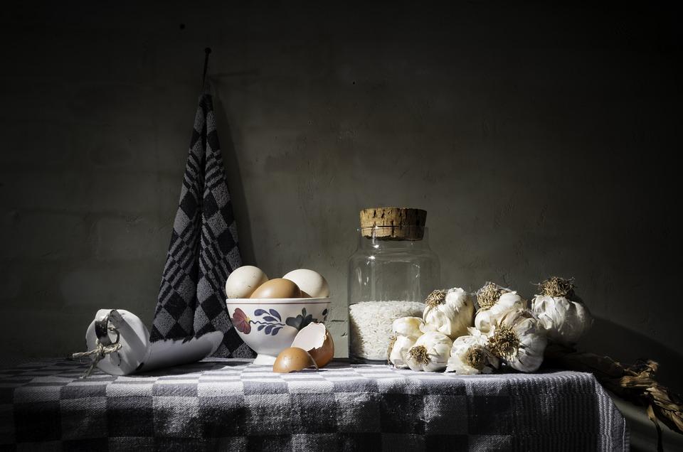 Still Life, Food, Old, Romantic, Eggs, Towel, Garlic