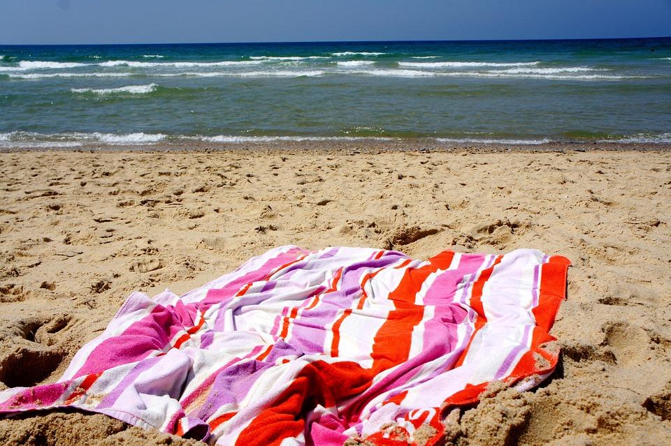Beach, Towel, Horizon, Sand