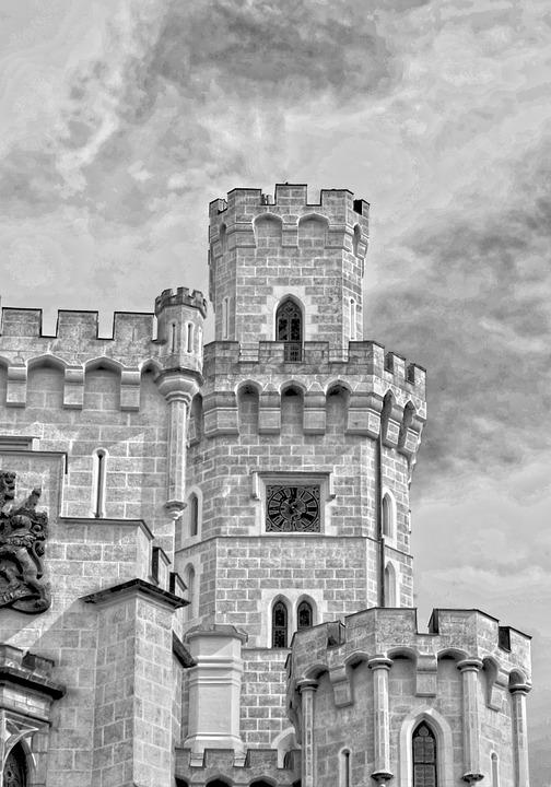 Black And White, Tower, Castle, Hluboká, South Bohemia