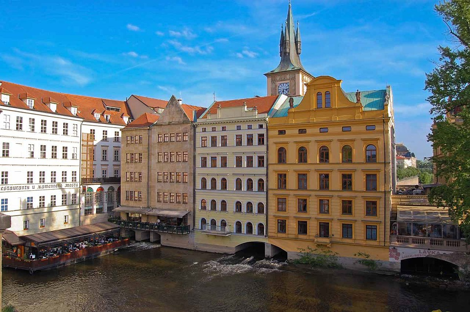 Prague, Canal, Town, City, Roofs, Tile, Tower, House