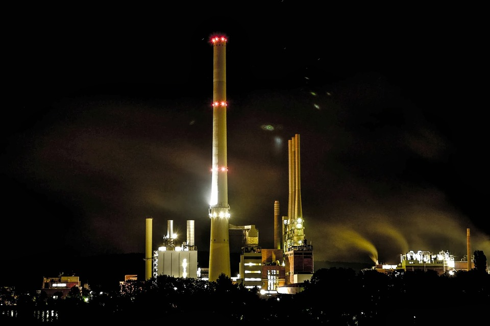 Industry, Night, Night Photograph, Tower, Smoke