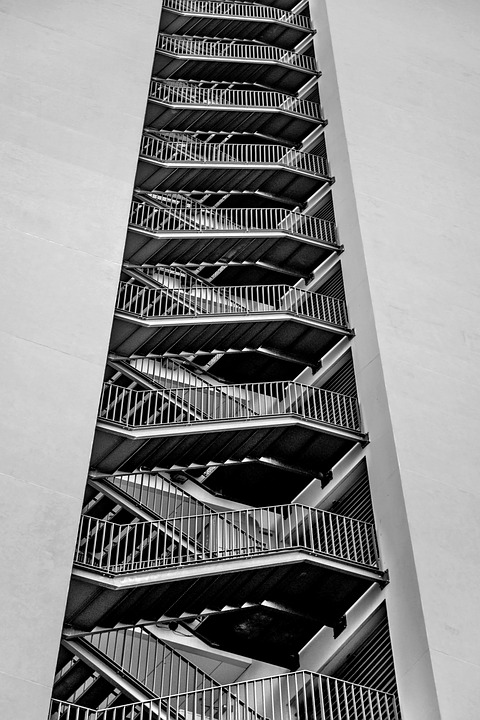 Stairs, Metal, Tower, Building, Architecture, Modern