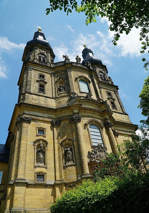 Banz Abbey, Bad Staffelstein, Church, Facade, Towers