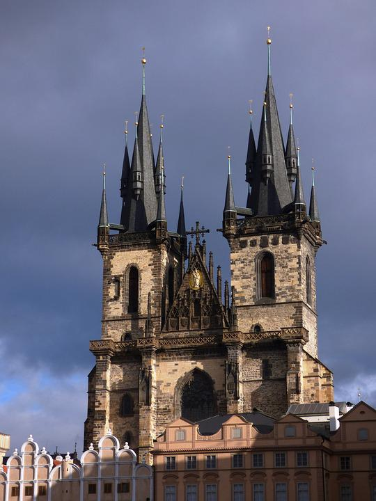 The Cathedral, Prague, Tower, Towers, Shadow, Gothic