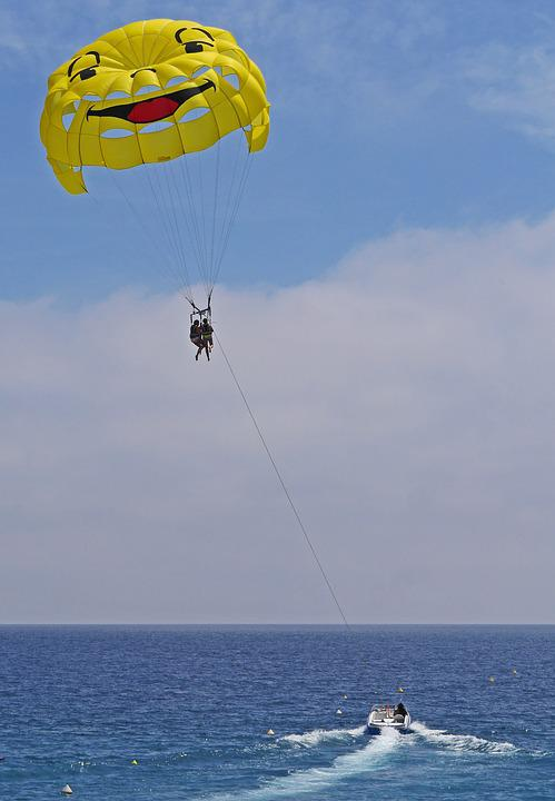 Parasailing, Screen, Powerboat, Towline, Mediterranean