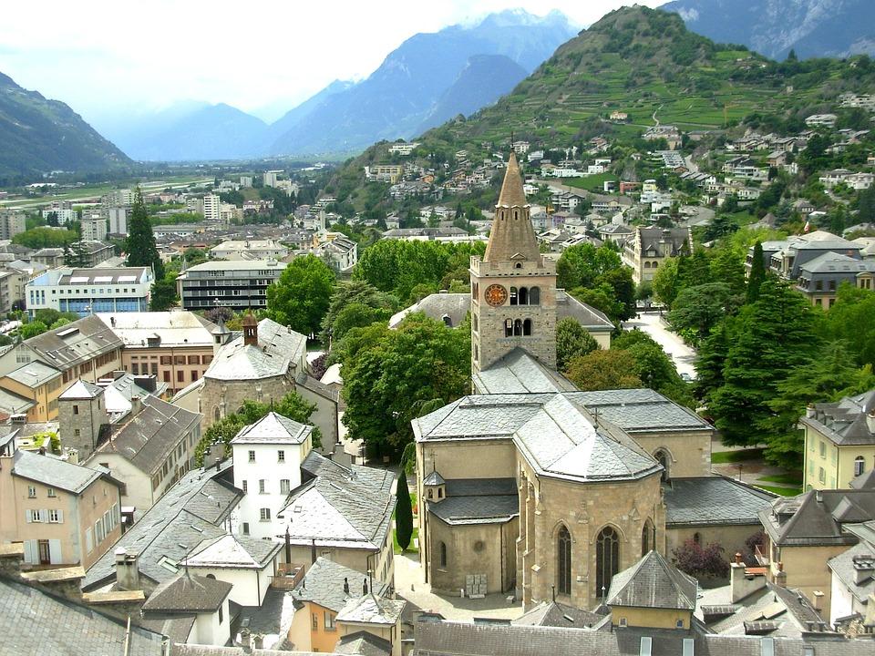Sion, Switzerland, Town, City, Urban, Buildings, Church