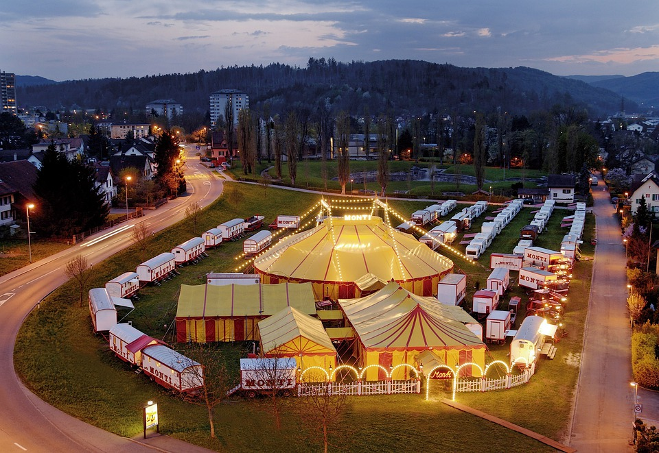 Landscape, Night, Evening, Circus, Town, City