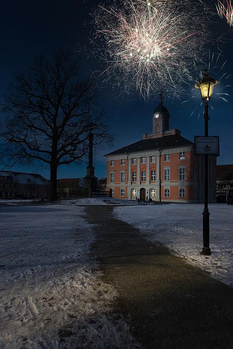 New Year's Eve, City, Town Hall, Night, Lantern