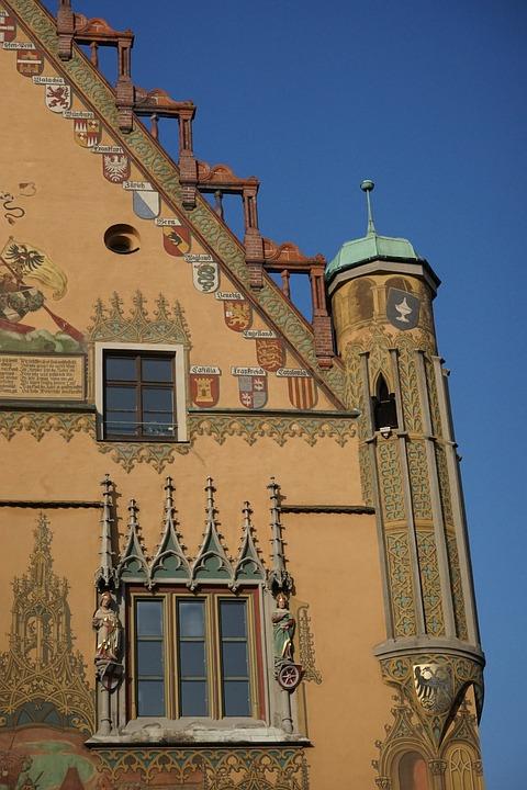 Town Hall Ulm, Facade, Building, Town Hall, Ulm, Yellow