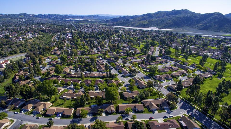 Drone Village Aerial Land House Landscape Town