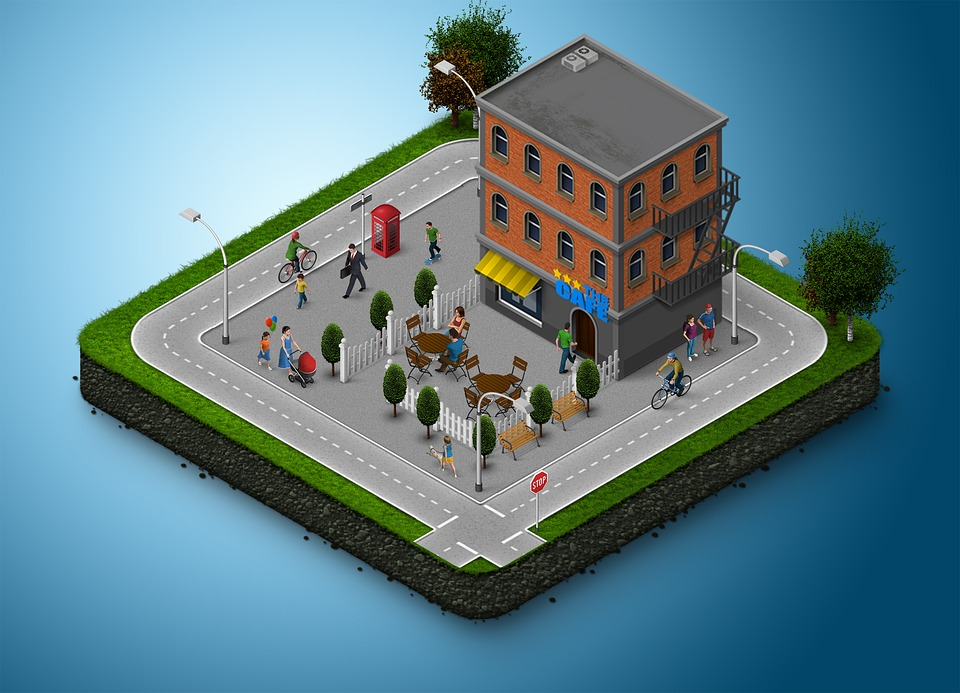 Building, 3d, Map, Icon, Town, Street, Geometric
