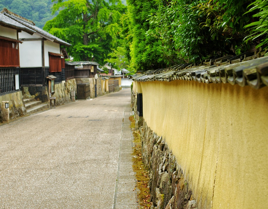Japan, Road, Town, Wall, Old