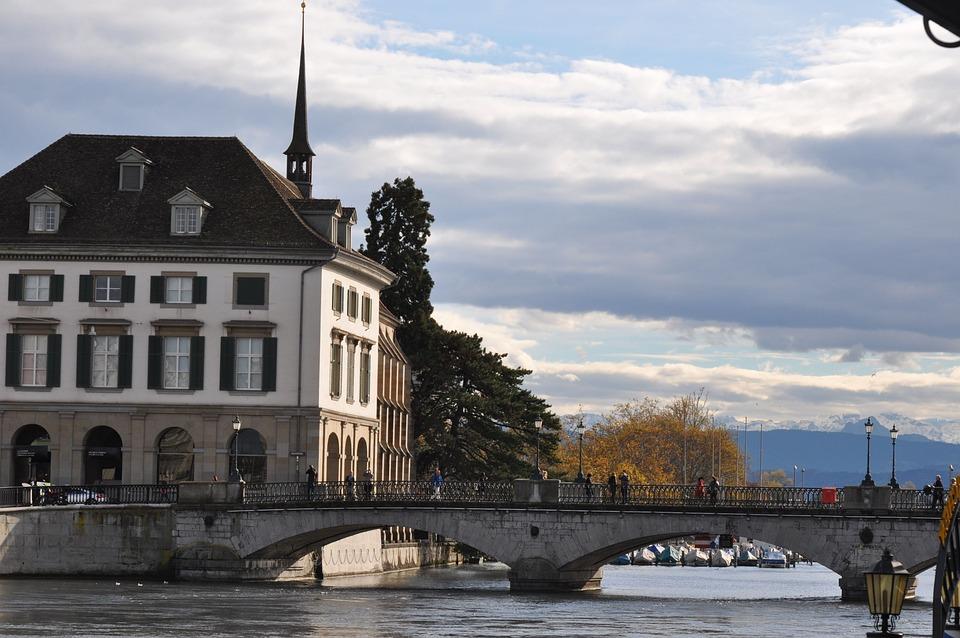 Zurich, River, Bridge, Switzerland, Town, Old