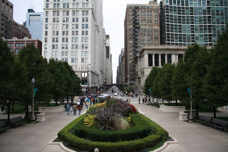 Chicago, Street, Center, Town, Metropole, Usa, America