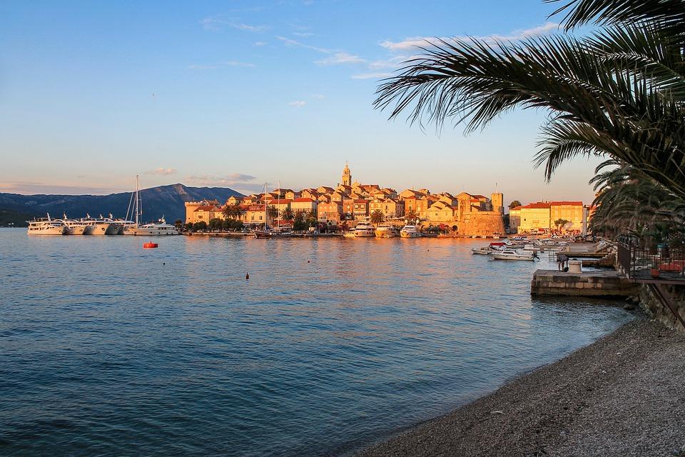 Medieval, Town, Croatia, Korcula, Sunset, Palms, Trees