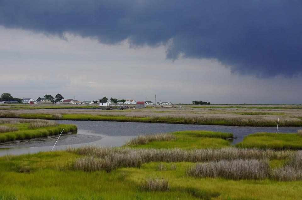 River, Village, Town, Thunderstorm, Dark, Grey, Clouds