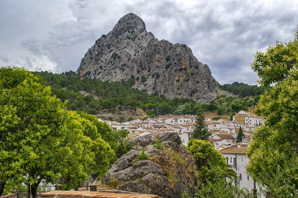 Mountains, Trees, Houses, Town, Village, Townscape
