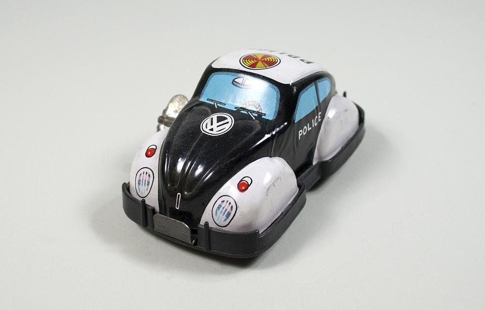 Volkswagen, Beetle, Police, Car, Wind Up, Toy, Tin, Bug