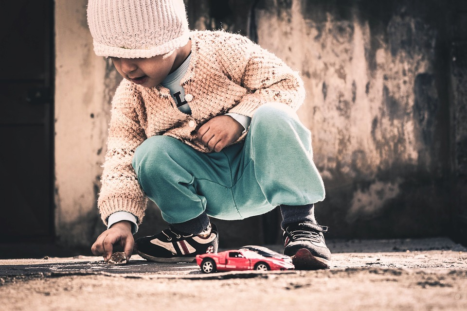 Baby, Playing, Toy Cars, Toys