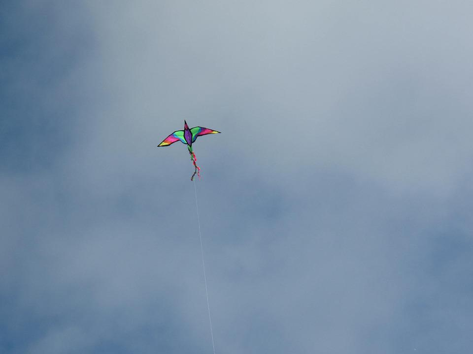 Kite, Sky, Bird, Toy, Clouds, Fly, Flying, Play, Blue