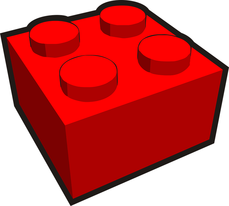 Building Block, Plastic, Toy, Red, Architecture