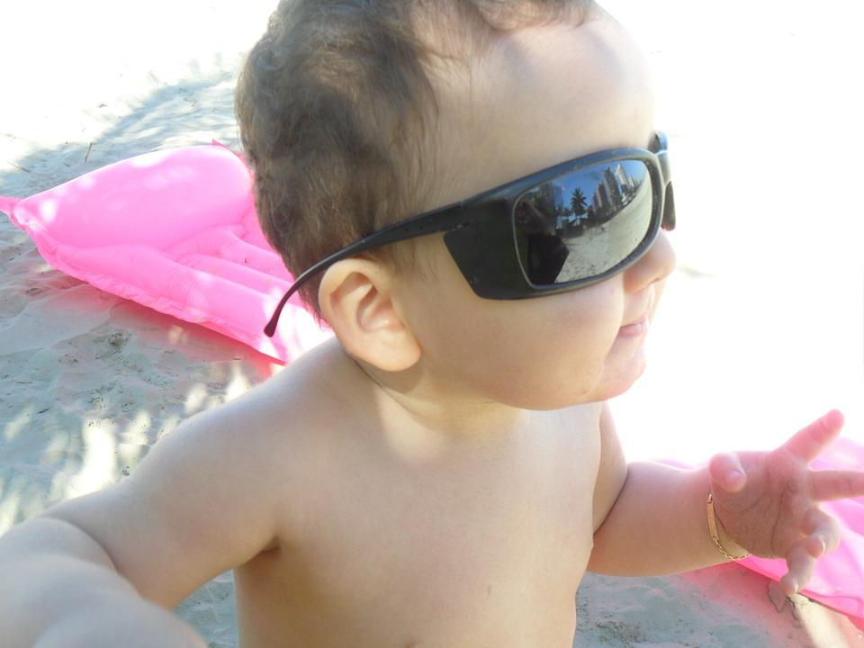 Child, Toy, Sunglasses, Sand Beach
